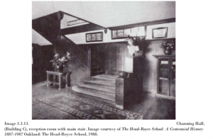 Channing Hall reception room with main staircase.