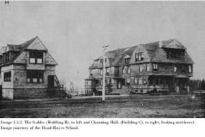 The Gables (building B) on left, and Channing Hall (building C) on the right.
